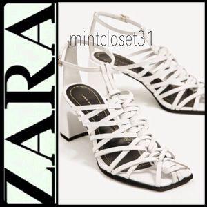 Zara Woman Leather Sandal Heels